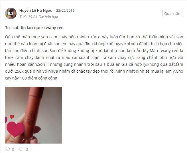 Review son 3CE của bạn Huyền Lê Hà Ngọc