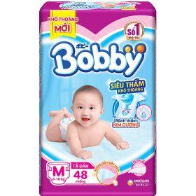 Tã Dán Bobby Siêu Mỏng Thấm Gói Lớn M48 (48 Miếng)