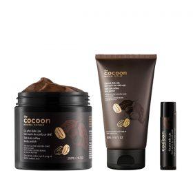 Bộ 3 Cà phê Đắk Lắk tẩy da chết cocoon: Cơ thể 200ml + Da mặt 150ml + Son môi 5g